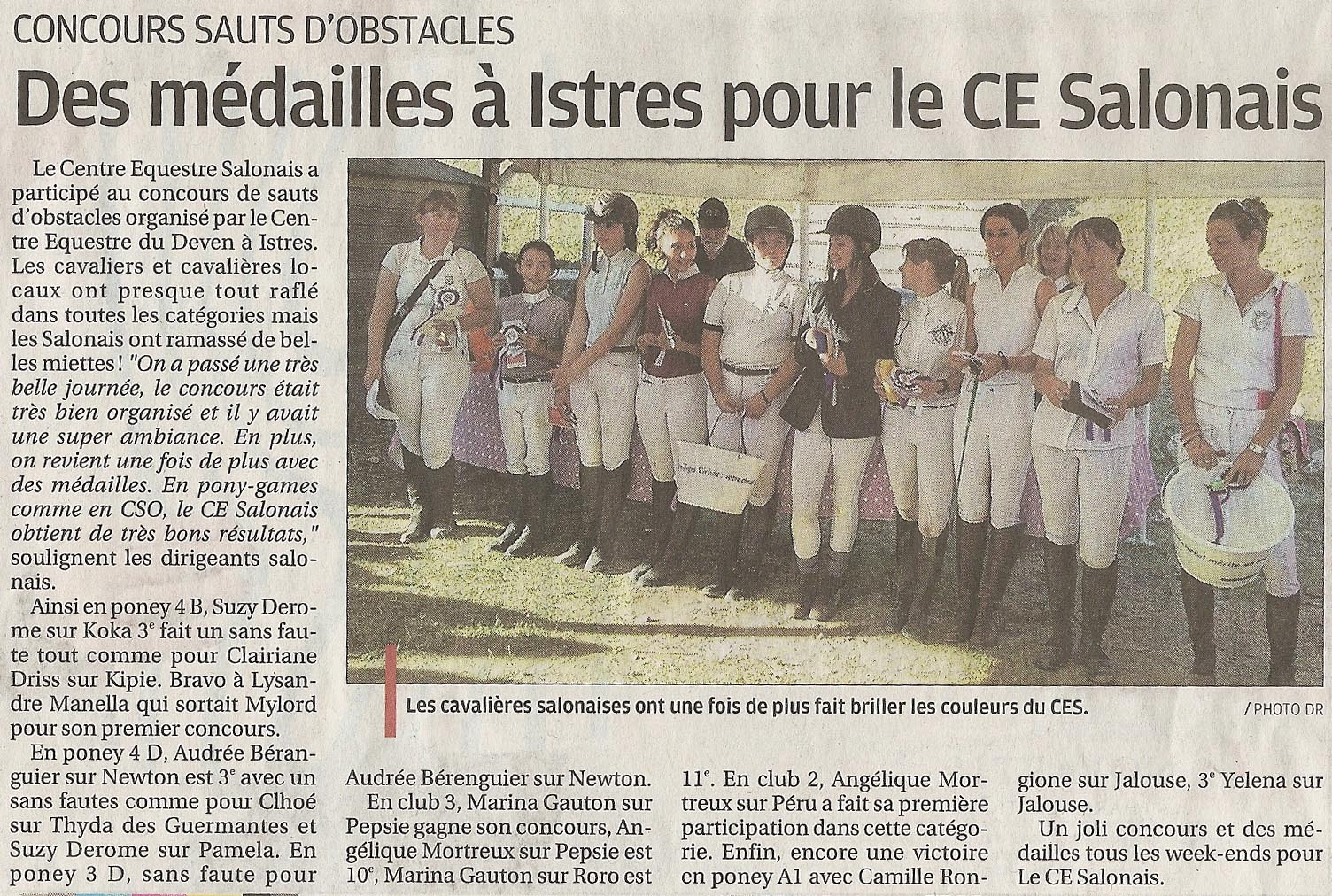 On en parle cso du 6 octobre 2013 centre equestre salonais - Le journal de la provence ...
